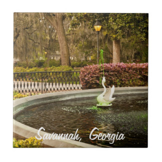 St Patrick's Day - Forsyth Fountain, Savannah, GA Tile