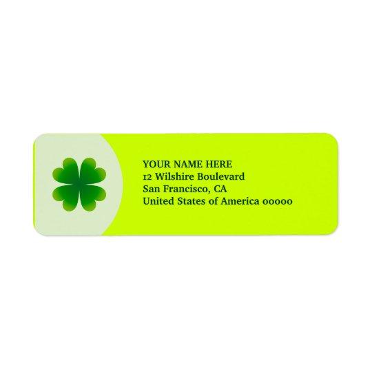 St. Patrick's Day Four Leaf Clover Label Address