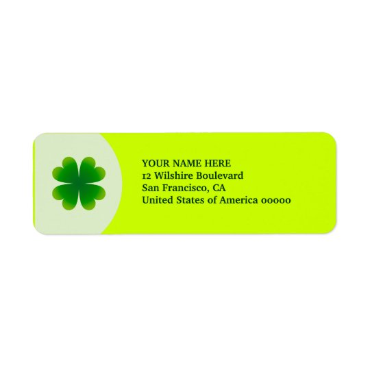 St. Patrick's Day Four Leaf Clover Label Address Return Address Label