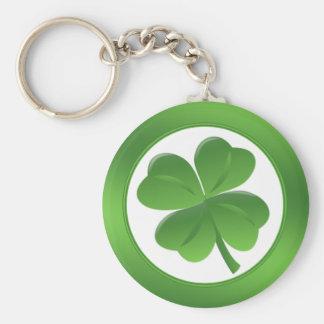 St.Patrick's Day, four leaves shamrock Basic Round Button Key Ring