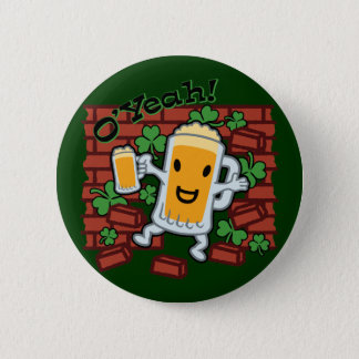 St Patrick's Day Funny Beer Man 6 Cm Round Badge