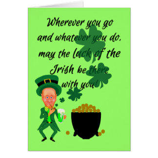 St Patrick's Day Funny Leprechaun Irish Blessing Greeting Card