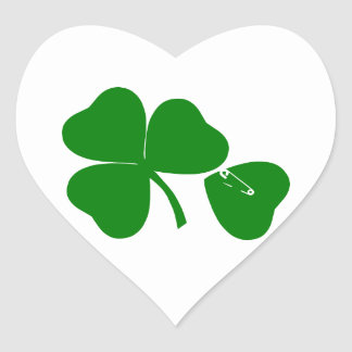 St Patrick's Day - Get Lucky 3 + 1 leaves = 4 Heart Sticker