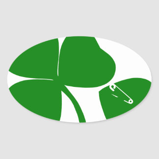 St Patrick's Day - Get Lucky 3 + 1 leaves = 4 Oval Sticker