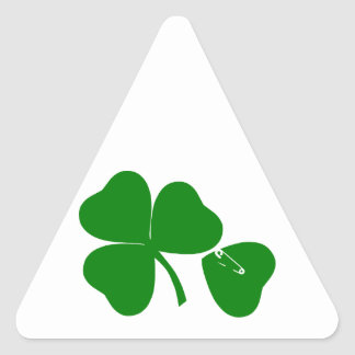 St Patrick's Day - Get Lucky 3 + 1 leaves = 4 Triangle Sticker