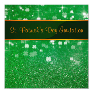 St. Patrick's Day Glitter Clover - Invitation