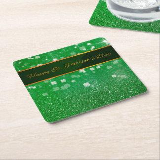St. Patrick's Day Glitter Clover - Paper Coaster
