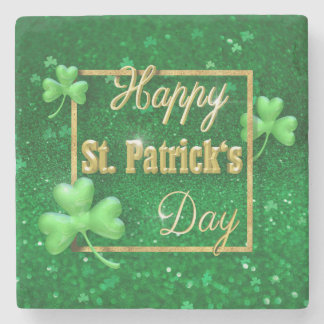 St. Patrick's Day Gold Shamrock - Stone Coaster