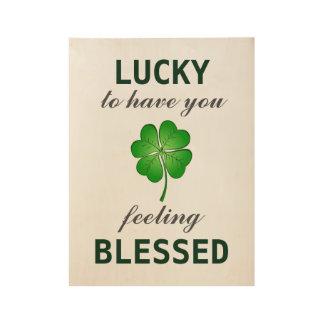 St Patrick's Day GOOD LUCK Green Shamrock/Clover Wood Poster