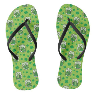 St Patrick's Day Green Beer Pattern Thongs