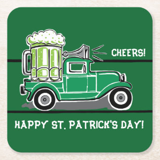 St Patrick's Day Green Beer Vintage Truck Square Paper Coaster