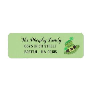 St-Patrick's Day green chevron leprechaun's hat Return Address Label