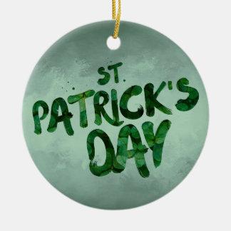 St Patrick's Day Green Clover Irish Celtic Ceramic Ornament