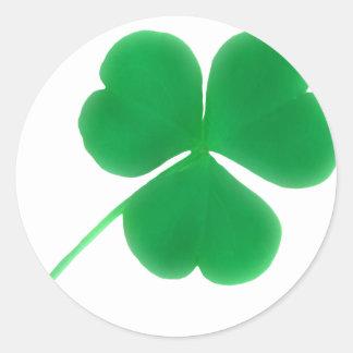 St. Patrick's Day Green Clover Round Sticker