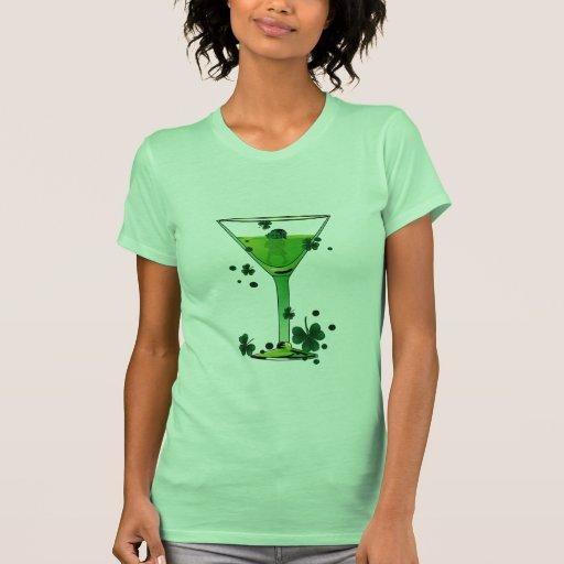 St Patricks Day Green Cocktail w Leprechaun Tshirt
