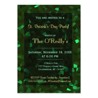 St Patrick's Day | Green Crystals 5x7 Paper Invitation Card