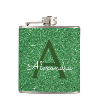 St. Patrick's Day Green Glitter & Sparkle Monogram Hip Flask