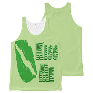 st patrick's day green lips kiss me All-Over print tank top