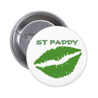 St Patrick's Day Green Paddy Kiss  Button