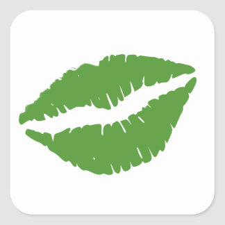 St Patrick's Day Green Paddy Kiss Square Sticker