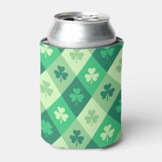 St Patricks Day Green Shamrock Clover Can Cooler