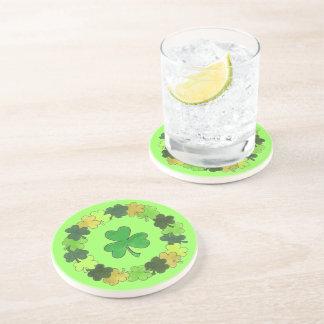 St. Patrick's Day Green Shamrock Clover Wreath Coaster