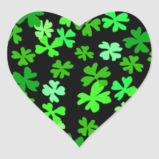 St. Patrick's Day Green Shamrock Heart Sticker