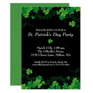 St. Patrick's Day Green Shamrock Vine Irish Party Card