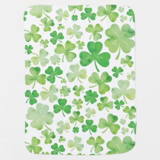 St Patricks Day Green Watercolour Shamrock Pattern Baby Blanket