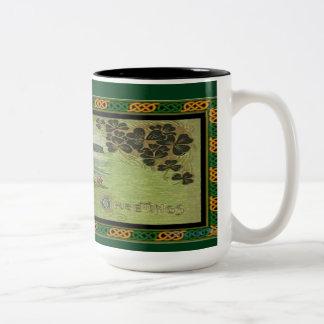 St. Patrick's Day Greetings Celtic Knot Border Mug Two-Tone Mug