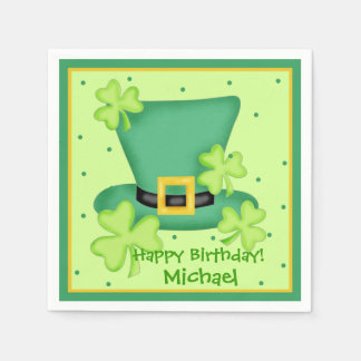St. Patrick's Day Happy Birthday Name Personalised Disposable Serviettes