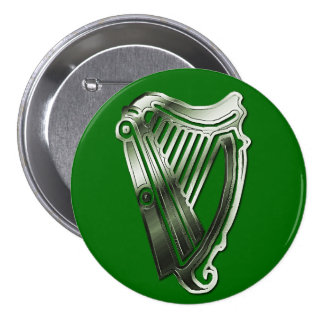 St Patrick's Day Harp of Ireland Button Name Tag 3 Inch Round Button