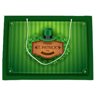 St. Patrick's Day - Hat & Clovers Large Gift Bag