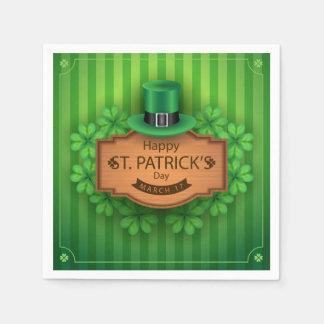St. Patrick's Day - Hat & Clovers Paper Napkins