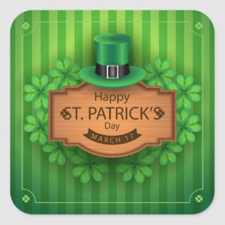 St. Patrick's Day - Hat & Clovers Square Sticker