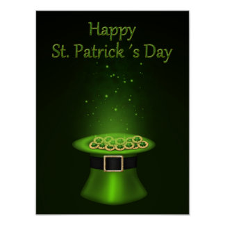 St. Patrick's Day Hat Coins - Poster Print