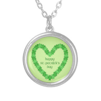 St Patrick's Day Heart Silver Plated Necklace