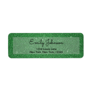 St. Patrick's Day Holiday Green Glitter & Sparkle Return Address Label