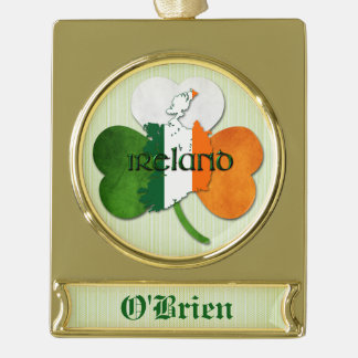 St. Patrick's Day - Ireland/Map - Customize Name Gold Plated Banner Ornament