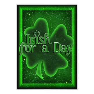 St. Patrick's Day Irish For A Day 13 Cm X 18 Cm Invitation Card