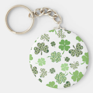 St. Patrick's Day Irish Green and White Clovers Key Ring