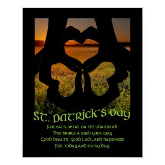 St Patricks Day Irish Hand Heart Shamrock S Poster