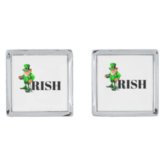 ST. PATRICK'S DAY IRISH LEPRECHAUN cuff links Silver Finish Cuff Links