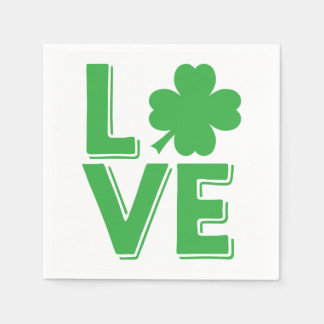 St. Patrick's Day Irish Love  Green Shamrock Disposable Serviette