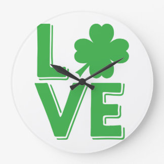 St. Patrick's Day Irish Love Green Shamrock Large Clock