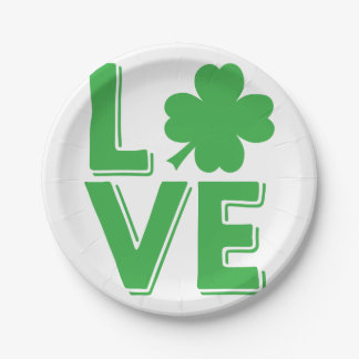 St. Patrick's Day Irish Love Green Shamrock Paper Plate