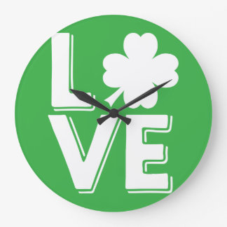 St. Patrick's Day Irish Love Shamrock Modern Large Clock
