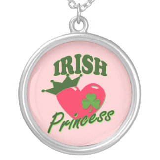 St Patricks Day Irish Princess Silver Plated Necklace