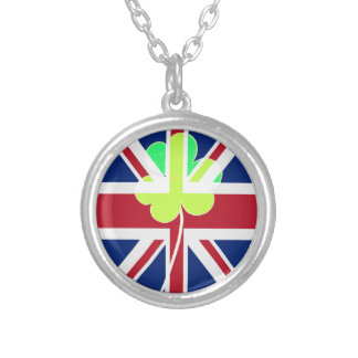 St. Patrick's Day Irish Shamrock Clover UK Flag Silver Plated Necklace