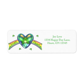 St. Patricks Day Irish Shamrock Heart Return Address Label